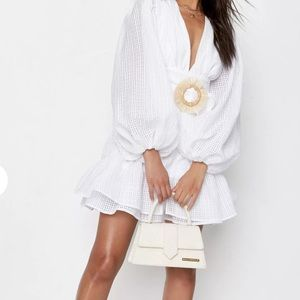 Adorable ruffle details puff sleeves white dress